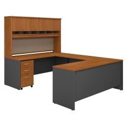 "Bush Business Furniture Components 72""W U-Shaped Desk With Hutch And Storage, Natural Cherry/Graphite Gray, Premium Installation"