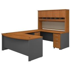 """Bush Business Furniture 72""""W Bow-Front U-Shaped Desk With Hutch And Storage, Natural Cherry/Graphite Gray, Premium Installation"""