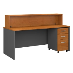 "Bush Business Furniture Components 72""W x 30""D Reception Desk With Mobile File Cabinet, Natural Cherry/Graphite Gray, Premium Installation"