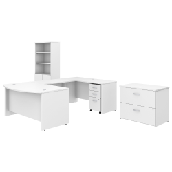 "Bush Business Furniture Studio C 60""W x 36""D U Shaped Desk with Bookcase and File Cabinets, White, Standard Delivery"