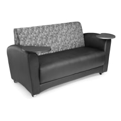 """OFM Interplay-Series Double-Table Sofa, 33""""H x 82""""W x 32-1/2""""D, Nickel/Black/Tungsten"""