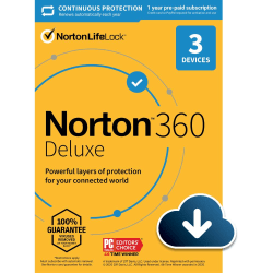 Norton™ 360 Deluxe, For 3 Devices, 1 Year Subscription, Windows®, Download