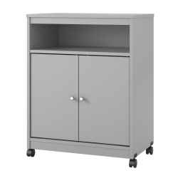 "Ameriwood™ Home Landry Microwave Cart, With Cabinet, 30""H x 23""W x 15""D, Dove Gray"