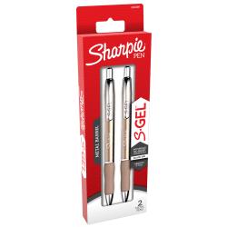 Sharpie® S-Gel Metal Barrel Gel Pens, Medium Point, 0.7 mm, Champagne Barrel, Black Ink, Pack Of 2 Pens
