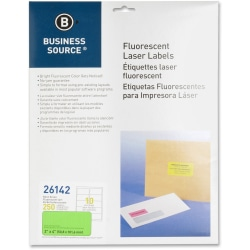 "Business Source 2"" Fluorescent Color Laser Labels - 2"" x 4"" Length - Permanent Adhesive - Rectangle - Laser - Neon Green - 10 / Sheet - 250 / Pack"