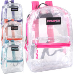 Trailmaker Girls' Clear Backpacks, Assorted Colors, Pack Of 24 Backpacks