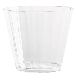 WNA Classic Crystal™ Plastic Fluted Tumblers, Squat, 9 Oz, Clear, 12 Tumblers Per Pack, Carton Of 20 Packs