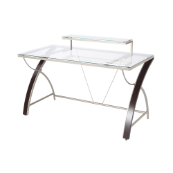 "Realspace® Axley 55""W Glass Computer Desk, Cherry/Silver"
