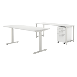 """Bush Business Furniture 400 Series 72""""W x 30""""D Height-Adjustable Standing Desk With Credenza And Drawers, White, Premium Installation"""