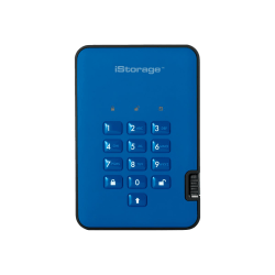 iStorage diskAshur² - Solid state drive - encrypted - 2 TB - external (portable) - USB 3.1 - FIPS 197, 256-bit AES-XTS - ocean blue