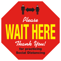 "Alliance Social Distancing Floor Decals, Please Wait Here, 8-1/2"" Octagon, Red, Pack Of 25 Floor Decals"