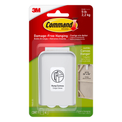 "Command™ Jumbo Canvas Picture Hanger, 2 1/4""H x 3 3/8""W x 3/4""D, White"