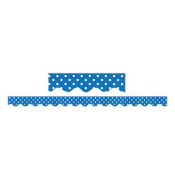 "Teacher Created Resources Border Trim, 2 3/16"" x 35"", Blue Mini Polka Dots, Pre-K - College, Pack Of 12"