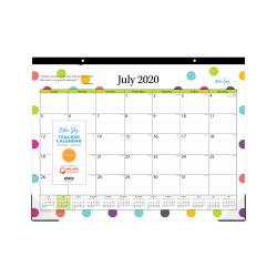 """Blue Sky™ Teacher Academic Monthly Desk Calendar, 22"""" x 17"""", Dots, July 2020 to June 2021, 105496-A"""