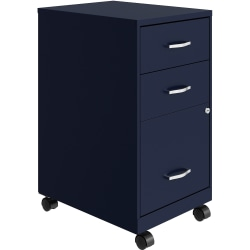 "Lorell® SOHO 15""W Mobile 3-Drawer Organizer Cabinet, Navy"