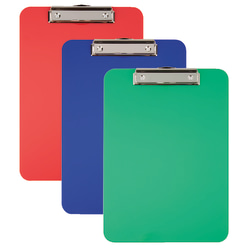 "Office Depot® Brand Acrylic Clipboards, 9"" x 12"", Assorted Colors, Pack Of 3"