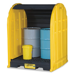 EcoPolyBlend DrumSheds, Yellow, 2,500 lb, 67 gal, 58 1/2 in x 60 3/4 in