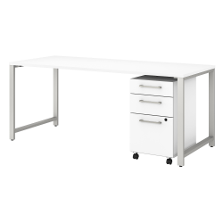 "Bush Business Furniture 400 Series 72""W x 30""D Table Desk With 3-Drawer Mobile File Cabinet, White, Premium Installation"