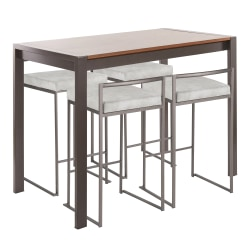 LumiSource Fuji Industrial Counter-Height Dining Table With 4 Stools, Antique Metal/Walnut/Light Gray Cowboy