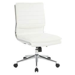 Office Star™ Pro-Line II™ SPX Armless Bonded Leather Mid-Back Chair, White/Chrome