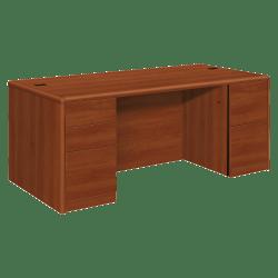 HON® 10700 Series Double-Pedestal Desk, Cognac