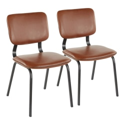 LumiSource Foundry Chairs, Black/Cognac, Set Of 2 Chairs