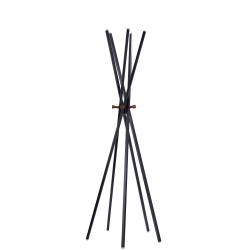 "Adesso® Andrew Metal Coat Rack, 66-1/2""H x 23-1/2""W x 23-1/2""D, Matte Black/Walnut Ash"