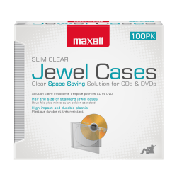 Maxell® Slim Jewel Cases, Clear, Pack Of 100