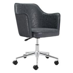 Zuo® Modern Keen Mid-Back Chair, Vintage Black/Chrome
