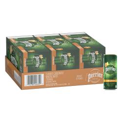 Perrier® L'Orange Sparkling Natural Mineral Water with Lemon/Orange Flavor, 8.45 Oz, Case Of 30 Slim Cans
