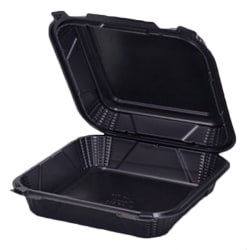 """GenPak Harvest Pro Hinged Containers, 9-1/4"""" x 3"""", Black, Pack Of 150 Containers"""