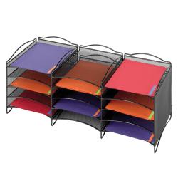 Safco® Onyx™ Mesh 12-Compartment Literature Organizer, Black