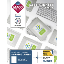 "MACO® White Laser/Ink Jet Shipping Labels, MML-0400, 5 1/2""W x 4 1/4""L, Rectangle, White, 4 Per Sheet, Box Of 400"