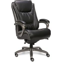 Serta® Big And Tall Smart Layers™ Blissfully Bonded Leather High-Back Chair, Black/Gray