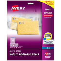 "Avery® Easy Peel® Permanent Address Labels, Return, 18695, 2/3"" x 1 3/4"", Matte Clear, Pack Of 600"