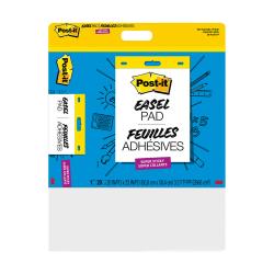 "Post-it® Super Sticky Wall Pad, 20"" x 23"", Plain White Paper, 20 Self Stick Sheets Per Pad"