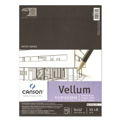 "Canson Vidalon Tracing Vellum Pad, 9"" x 12"", Pack Of 50 Sheets"