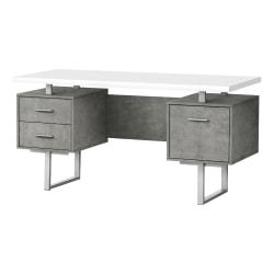 "Monarch Specialties Violet 60""W Computer Desk, White/Gray"