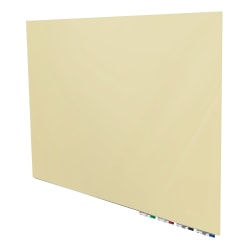 """Aria Magnetic Low-Profile 1/4"""" Glassboard With 4 Rare Earth Magnets, 4 Markers & Eraser, 36"""" x 48"""", Beige"""