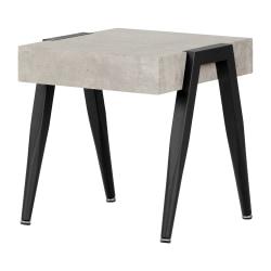 """South Shore City Life End Table, 19-3/4""""H x 19-3/4""""W x 19-3/4""""D, Concrete Gray/Black"""