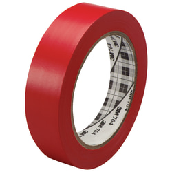 "3M™ 764 Vinyl Tape, 3"" Core, 1"" x 36 Yd., Red, Case Of 6"