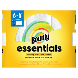 """Bounty Essentials 2-Ply Paper Towels, Select-A-Size, 11"""" x 5 7/8"""", White, 83 Sheets Per Roll, Carton Of 6 Rolls"""