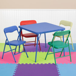 "Flash Furniture Kids' Colorful Folding Square Table With 4 Folding Chairs, 24""W x 24""D, Blue/Assorted Colors"