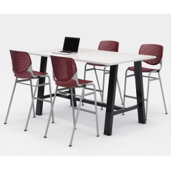 """KFI Midtown Bistro Table With 4 Stacking Chairs, 41""""H x 36""""W x 72""""D, Designer White/Burgundy"""
