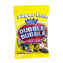 Dubble Bubble Sugar-Free Bubble Gum, 3.25 Oz Per Bag, Box Of 12 Bags