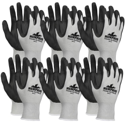 Memphis Shell Lined Protective Gloves - Small Size - Nylon, Foam Palm, Nitrile Palm - Gray, Black, White - Knit Wrist, Knitted Cuff, Comfortable - For Material Handling, Assembling, Farming, Construction, Landscape, Plumbing, Shipping - 12 / Dozen
