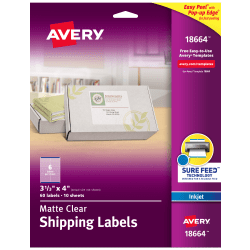 """Avery® Easy Peel® Clear Inkjet Shipping Labels, 18664, 3 1/3"""" x 4"""", Pack Of 60"""