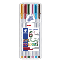 Staedtler® Triplus Fineliner Porous Point Pens, Fine Point, 0.3 mm, Gray Barrels, Assorted Inks, Pack Of 6 Pens