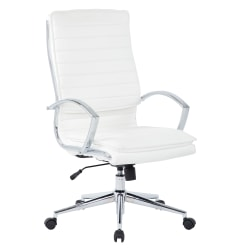 Office Star™ Pro-Line II™ SPX Bonded Leather High-Back Chair, White/Chrome