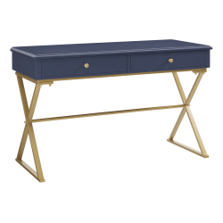 Linon Home Décor Products Amy Home Office Campaign Desk,Blue/Gold